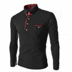 Toko 2017 Baru Merek Mens Dot Lengan Panjang Polo Kemeja Merek Lengan Panjang Camisas Polo Stand Collar Pria Polo Shirt Hitam Intl Online Terpercaya