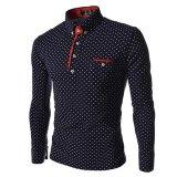 Jual 2017 Baru Merek Mens Dot Lengan Panjang Polo Kemeja Merek Lengan Panjang Camisas Polo Stand Collar Pria Polo Shirt Dark Blue Intl Oem Branded