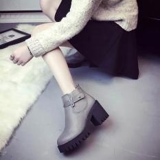 Jual 2017 New England Boots Side Zipper Non Slip Belt Buckle Boots Abu Abu Intl Antik