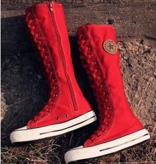 2017 Baru Fashion Sepatu Kanvas Women Lace ZIP MID-Calf Flats Boots Hip Hop Sepatu Kasual Tinggi Punk Gothic Sepatu Wanita (Merah) -Intl