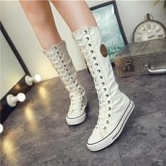 2017 Baru Fashion Sepatu Kanvas Women Lace ZIP MID-Calf Flats Boots Hip Hop Sepatu Kasual Tinggi Punk Gothic Sepatu Wanita (Putih) -Intl