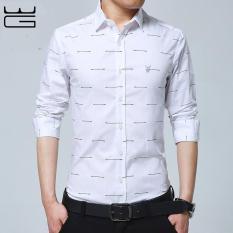 Harga 2017 Baru Fashion Kasual Kemeja Pria Blus Lengan Mandarin Collar Slim Fit Shirt Pria Formal Bisnis Mens Baju Kemeja Pria Pakaian Putih Intl Terbaik