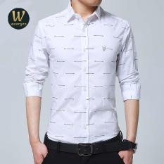 Spek 2017 Baru Fashion Kasual Kemeja Pria Blus Lengan Mandarin Collar Slim Fit Shirt Pria Formal Bisnis Mens Baju Kemeja Pria Pakaian Putih Intl