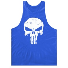 2017 New Fashion Pria Cotton T-shirt Gym Pelatihan Rompi Retro The Punisher Tengkorak Olahraga T-shirt Gym Body Building Rompi untuk Pria (Biru) -Intl