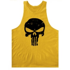 2017 New Fashion Pria Cotton T-shirt Gym Pelatihan Rompi Retro The Punisher Tengkorak Olahraga T-shirt Gym Body Building Rompi untuk Pria (Kuning) -Intl