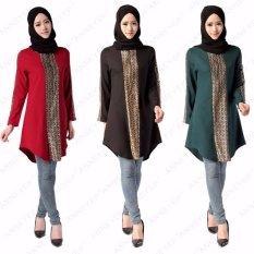 2017 Baru Muslim Wanita Ukuran Besar Kemeja Panjang Korea Linen Arab Kaos Wanita Abaya Lengan Lengan Panjang untuk Ramadan -Intl