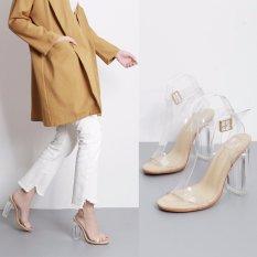 Harga 2017 Baru Fashion Wanita Musim Panas Transparan Sandal Tebal Bertumit Tinggi Kristal Sepatu Intl New