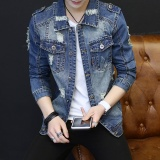 Spesifikasi 2017 New Four Seasons Fashion Jaket Denim Retro Nostalgia Lubang Patah Jeans Kurus Tide Pemuda Mantel Intl Dan Harganya