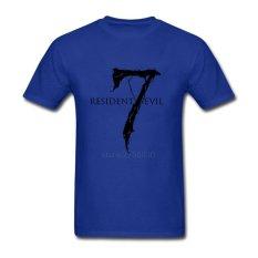 2017 Baru Hombre Shorts T-Shirt Resident Evil 7 DIY Khusus Tshirt Youth Round Collar Hot Sale Buat T Kemeja Biru -Intl