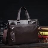 Cuci Gudang 2017 Baru Pria Bag Handbag Bisnis Casual Bag Briefcase Soft Besar Shoulder Bag Messenger Bag Dark Brown Intl