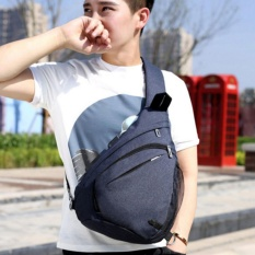 Review Terbaik 2017 Pria Wanita Model Single Shoulder Strap Back Bag Canvas Travel Dada Casing Dengan Usb Interface Biru Intl