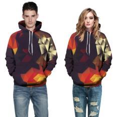 Harga 2017 Baru Pria Hoodies O Leher Sweatshirts Panjang Unisex 3D Geometris Dicetak Hooded Pullover Pasangan Pakaian Plus Ukuran M 5Xl Intl Baru