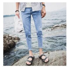 Ulasan Lengkap 2017 Baru Mens Jeans Fashion Korea Slim Fit Denim Celana Musim Gugur Baru Remaja Tide Lubang Celana Celana Intl