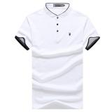 Miliki Segera 2017 Baru Pria Solid Warna T Shirt Lengan Pendek Setengah Collar Lengan Pendek Polo Shirt Intl