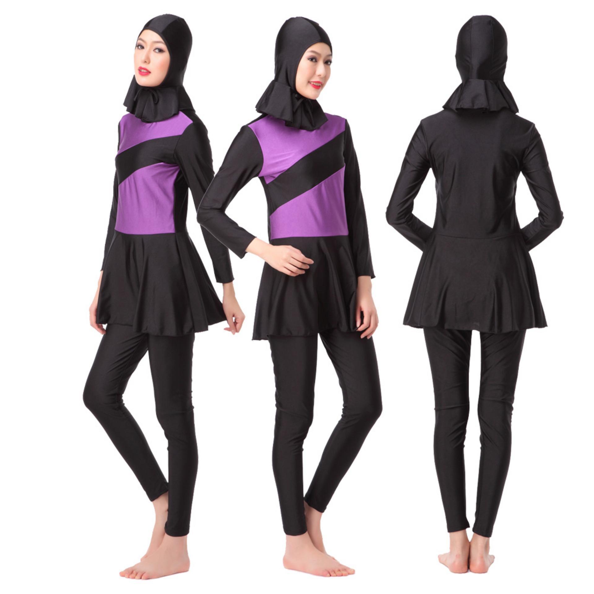 Baru Poliamida Lycra Cepat Kering Lembut Warna Muslim Wanita Swimwear Set dengan Jilbab untuk Berenang Sport Edora Baju Renang Muslim Dewasa