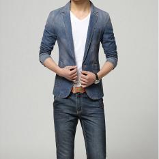Jual 2017 Baru Musim Semi Brand Fashion Pria Blazer Pria Trend Jeans Setelan Kostum Casual Jean Jaket Pria Slim Fit Denim Jaket Pria Perapi Dark Blue Intl Baru
