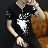 Harga 2017 New Summer Men Slim Type Wolf Head Printing Short Sleeves T Shirt Black Intl Oem Asli