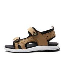 2017 Baru Musim Panas Sepatu Pria Datar Kulit Sporty Velcro Sandal Sandal Sepatu Fashion Sandal Kulit
