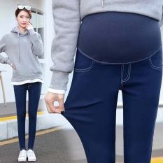 2017 Peregangan Super Baru Bersalin Pensil Perut Celana Denim Terlihat Kurus Legging Celana Pakaian untuk Wanita Hamil Kehamilan Pakaian (dark Blue) -Intl