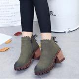 Beli 2017 Baru Wanita G*rl S Side Zipper Suede Pendek Boots Bow Knot Decor Martin Boots Ankle Kasut Tumit Sederhana Hijau Intl Oem Asli