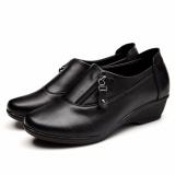 Spesifikasi 2017 Baru Wanita Wedges Kulit Sepatu Fashion Zipper Wanita Sepatu Kerja Ukuran Besar 35 43 Hitam Intl Murah