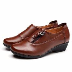 Jual Beli 2017 Baru Wanita Wedges Kulit Sepatu Fashion Zipper Wanita Sepatu Kerja Ukuran Besar 35 43 Brown Intl Di Tiongkok