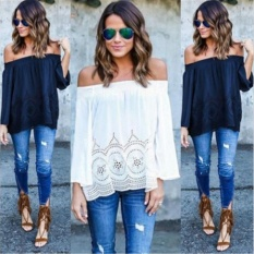2017 Off Shoulder Pure Color European and American Long-sleeved Chiffon Shirt Loose Casual Lace Shirt - intl