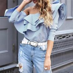 2017 Satu Bahu Blus Kerut Shirt Atasan Wanita Musim Gugur Santai Biru Baju Bergaris Panjang Lengan Blus Keren Musim Dingin Lebih Blusas-Internasional