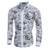 Harga Kemeja Pria Lengan Panjang 2017 Pria Floral Shirt Mens Kaos Slim Fit Men Shirt Ethnic Flowers Long Sleeve Kasual Shirts Murah