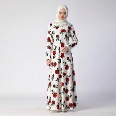 2017 Printing Bunga Wanita Muslim Gaun Panjang Islam Dewasa Menyembah Abayas Malaysia Dubai Turki Lady Dress Gadis Muslim Abaya- INTL