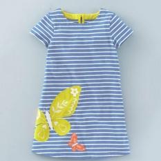 2017 Sexe Mara Anak-anak Kartun Casual Printing Stripe Gaun Pakaian Gadis (biru)-Intl