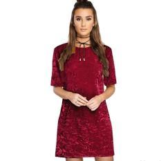 2017 Solid Mini Velvet Gaun Merah Marun Internasional Original