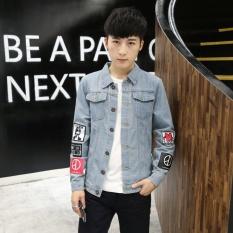 2017 Musim Semi dan Musim Gugur Baru Denim Jaket Pria Slim Korean Printed Kepribadian Denim Tops untuk Remaja-Intl