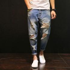Promo 2017 Musim Semi And Musim Panas Baru Pria Jeans Celana Lubang Beggar Jeans Pria Slim Kaki Celana Harem Jeans Robek Tiongkok