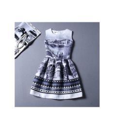 '2017 Musim Semi dan Musim Panas Baru Wanita Retro City Printing Tipis Gaun Mini Gaun Tanpa Lengan Rompi Bottoming Yang Kata Suruh Keputusan Pengaruh Rok -Intl Mikanoni'