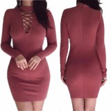 Review 2017 Spring Autumn Women Dresses Zipper O Neck S*Xy Knitted Dress Long Sleeve Bodycon Sheath Pack Hip Dress S Wine Red Intl