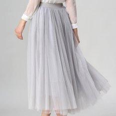 2017 Spring Fashion Faldas Gaya Korea 8 M Big Swing Maxi Rok Womens Musim Panas Jupe High Waist Tutu Dewasa Panjang Tulle Rok (Abu-abu) -Intl