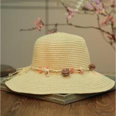 2017 Spring Korea Versi Baru Sederhana Bunga Buatan Tangan, Topi Jerami, Tabir Surya, Anti UV Straw Hat-Intl
