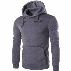 Penawaran Istimewa 2017 Spring Men S Slim Thick Cotton Men S Sweatshirts Fashion Casual Men S Hoodies Hooded Sweatshirt M Dark Gray Intl Terbaru