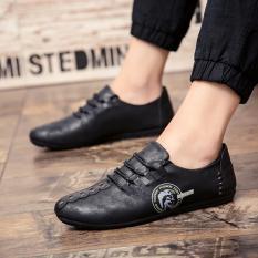 2018 Spring Baru Pria Peas Korea Fashion Leather Casual Loafers Sepatu Intl Murah