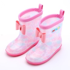 2017 Spring Rubber Boot Anak-anak Boots untuk Girls Boys Kids Kartun Rainboots Permen Warna Antiskid Hujan Boot Waterproof Shoes- INTL