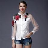 Kualitas 2017 Spring Wanita Blusas Vintage Lengan Panjang Bordir Floral Print Blus Tops Ladies Elegan Organza Kemeja Ukuran Lebih Putih Intl Oem