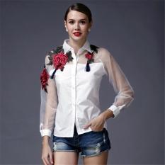 Spesifikasi 2017 Spring Wanita Blusas Vintage Lengan Panjang Bordir Floral Print Blus Tops Ladies Elegan Organza Kemeja Ukuran Lebih Putih Intl Terbaru