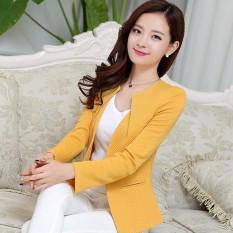 Harga 2017 Spring Wanita Slim Blazer Coat New Fashion Jaket Kasual Lengan Panjang Satu Tombol Suit Ladies Blazers Work Wear 3Xl Kuning Intl Merk Oem
