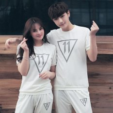 Promo 2017 Musim Panas Korea Gaya Pasangan T Shirt Huruf Bordir T Shirt White Intl Di Tiongkok