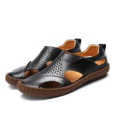 Harga 2017 Musim Panas Baru Sandal Pria Genuine Leather Fashion Sepatu Kasual Sandal Bernapas Pantai Sandal Oem Original