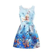 2017 Musim Panas A Gadis Putri Gaun Girl Butterfly Dicetak Lengan Formal Gaun Gadis Remaja Pesta Gaun-Intl