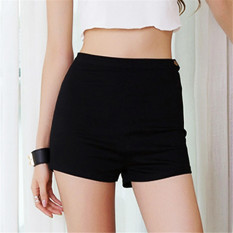 2017 Summer Women High Waist Denim Shorts Slim Ripped Skinny Hot Tight A Side Button Pom Jeans Short M(Black) - intl