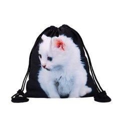 2017 Baru Daftar Tas Siswa Bag Shoulder Bag White Cat Printing Bag-Intl