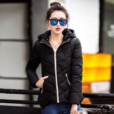 2017 Wanita Musim Dingin Mantel Korea Versi Pendek Bagian Baru Fashion Yang Kata Versi Slim Down Cotton Coat-Hitam- INTL
